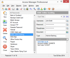 Access Manager gestione password